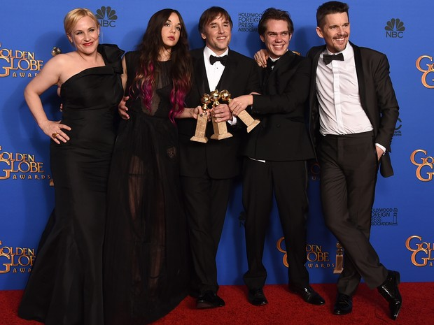 Equipe e diretor do filme 'Boyhood' (Foto: Frederic J. Brown/AFP/Getty Images)